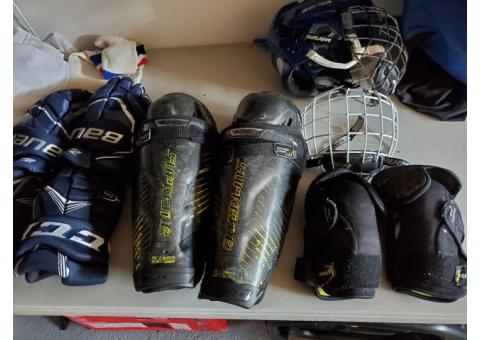 Lot of hockey equipment